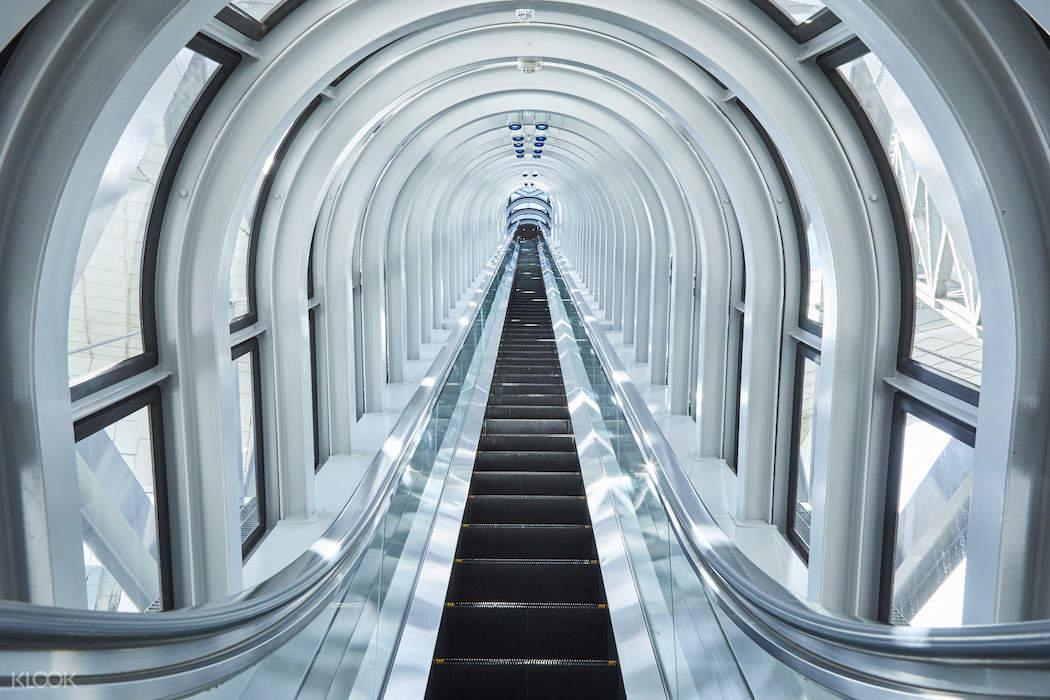 escalator inside Umeda Sky Building